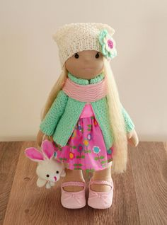Rag doll handmade birthday gift pink turquoise decor decoration Collectible is not an ordinary doll cute delicate blonde wearing  interior - pinned by pin4etsy.com