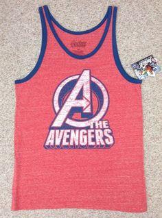 New$20 Marvel Comic THE AVENGERS TANK TOP Faded/Heather-Red&Blue T-Shirt MEN LRG #Marvel #Tank