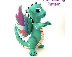 Ever Sew Nice by EverSewNice on Etsy Felt Dragon, Baby Dragon, Pdf Sewing Patterns, Sewing Tutorials, Sewing Projects, Monkey Pattern, Cute Dragons, Felt Birds, Felt Toys