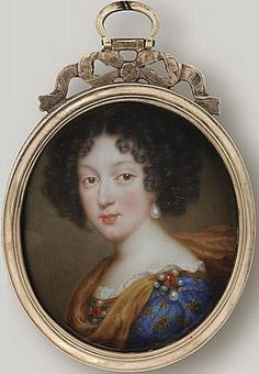 Marie Louise d'Orleans, the future Queen of Spain and eldest daughter of Philip l d'Orleans and Henrietta Anne of England, by Jean Petitot le vieux, painted in 1678 Louis Xiv, Henrietta Maria, Ludwig Xiv, French Royalty, Miniature Portraits, Miniature Paintings, Palais Royal, Historical Art, 17th Century