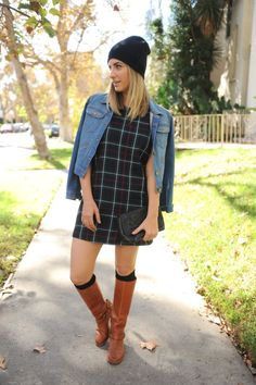 The weather got delightfully cool when Daylight Saving Time hit (50 degree-days in L.A. are a real East Coast kind of treat), which meant I could finally wear a seasonal outfit head to toe—hat and tall riding boots included. There's something crisp and collegiate about a plaid shift dress paired with knee-high socks, that feels quintessentially fall. Since the combination can easily look too school-girl, I wore a jean jacket and beanie to offset the preciousness.