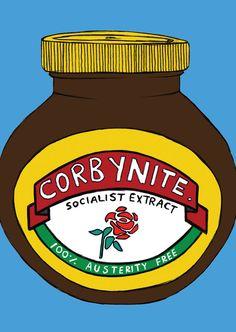 Corbynite Marmite Postcard Jeremy Corbyn, Marmite, Digital Illustration, Wall Decor, Art Prints, A4, Graphics, Christmas, Products