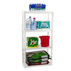 Storage Shelves Plastic Shelving Shelf Unit. With theseGarage Storage Shelves you can keep your home neat & organized. The heavy dutyStorage Shelves plastic construction helps resist rust & impact. WhiteStorage Shelves unit is made of heavy duty plastic in the USA. | eBay!