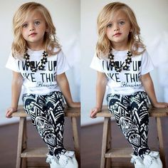 I woke up like this Flawless Toddler Kids Cute Funny Outfit School Clothes tee t-shirt top and pattern pants trousers