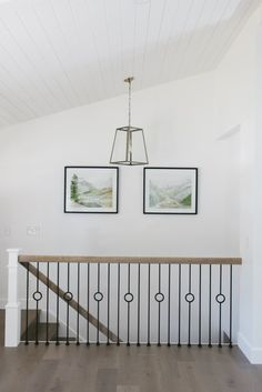 Centerville Residence Living, Dining & Kitchen - House of Jade Interiors… Wrought Iron Stair Railing, Metal Stairs, Staircase Railings, Metal Railings, Banisters, Staircases, Modern Railings For Stairs, Loft Stairs, Stairway Railing Ideas
