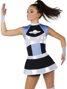 Black spandex short unitard with silver foil printed white and solid periwinkle spandex inserts. Foam lined sleeves and separate matching skirt. Headpiece, wrist bands and boot covers included. Dance Recital Costumes, Jazz Costumes, Running Costumes, Dance Outfits, Dance Dresses, Black Spandex Shorts, Space Costumes, Space Fashion, Kids Dance Wear