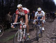 Eros Poli leads Paris-Roubaix in 1996. they were simpler times in many ways . . .