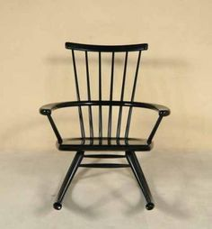 Vintage rocker in black lacquered timber, designed by Esko Pajamies for Asko, Finland in the 1950s.