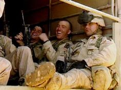 Soldiers, seen in this image from video, ride in the back of a truck as they move away from helicopters of the U.S. Army's 173rd Airborne Brigade at the Harir airfield, 45 miles northeast of the Kurdish city of Irbil, in northern Iraq on Friday March 28, 2003. (AP Photo/APTN)