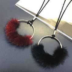 Red Black Fur Ball Long Necklace Women Bijoux New Fashion Jewelry Winter Sweater Necklaces & Pendants Cute Gift