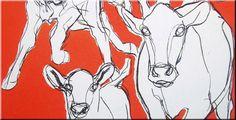 Marimekko 'Kevatjuhla' fabric wall art in bright orange, black and white 120x60x4cm b