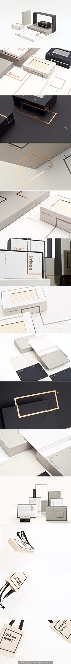 Urban modern box packaging design ideas. I love the monochromatic color pallet with gold foil accent.