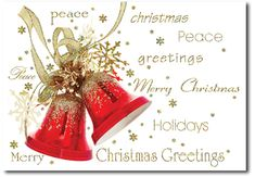 Red & Golden Bells Merry Christmas Greetings- Holiday cards by THE OFFICE GAL