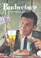 Budweiser Beer, Enjoy Spaghetti 1958 Ad Picture