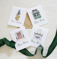Cute watercolor holiday card set! Has a Home for the Holidays theme. By Dodeline Design in Charleston, SC. #watercolorcards #holidaycard #christmascard #dodeline #handmade