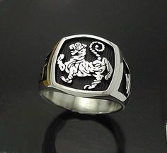 STERLING SILVER SHOTOKAN TIGER KARATE RING