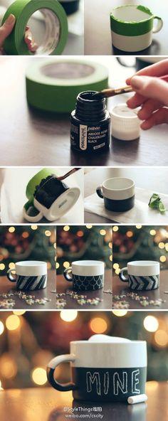 DIY Tutorials / homemade creative chalkboard coffee mugs, handwritten love