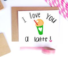 Valentine's Day Boyfriend Card Latte Coffee by LailaMeDesigns