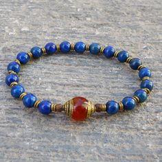 compassion - genuine lapis lazuli gemstone mala bracelet with a Tibetan capped carnelian guru bead