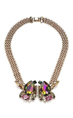 Four Chain Jeweled Necklace by Mawi for Bruno Magli