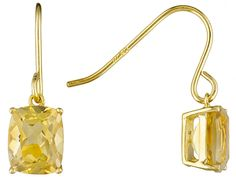 Classic dangle earrings perfect for everyday wear! l 5.21ctw Rectangular Cushion Citrine 18k Yellow Gold Over Sterling Silver Earrings