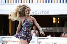 A model walks the runway wearing a 1948's french swimsuit during the Bikini Restrospective at Piscine Molitor on July 5, 2015 in Paris, France.