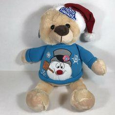 Frosty the Snowman Plush Teddy Bear Blue Sweater Christmas Hat Stuffed Animal #Christmas Christmas Scarf, Christmas Sweaters, Frosty The Snowmen, Snowman, Plush Dolls, Doll Toys, Sing Animation, Rabbit Baby, Christmas Animals