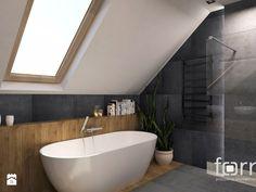 ŁAZIENKA KRYSPINÓW - Duża łazienka na poddaszu w domu jednorodzinnym z oknem, styl nowoczesny - zdjęcie od FORMA - Pracownia Architektury Wnętrz i Krajobrazu