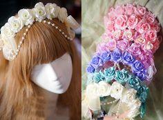 Lolita Sweet Girl Handmade Rose Pearl Chain Bowknot Flower Fairy Headband Wreath