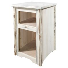 Two open cubbies make the Montana Woodworks Montana End Table a great choice as a chairside table or nightstand. This end table is handcrafted of solid,. Cubby Shelves, Cubbies, Chair Side Table, End Tables, Farmhouse Bedroom Furniture, Montana, Nightstand, Woodworking, Home Decor