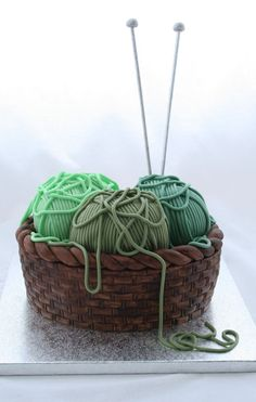 How to make a knitting basket cake on http://cakejournal.com/tutorials/how-to-make-a-knitting-basket-cake/