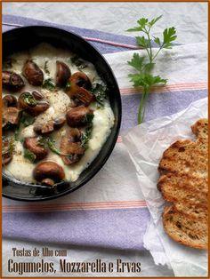 basta cheio: |comer|      Tostas de Alho com Cogumelos, Mozzare...