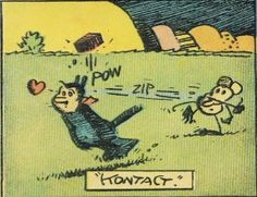 Krazy Kat -- Getting a hit from Ignatz Mouse