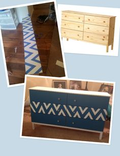 My favorite project! IKEA Tarva dresser painted in chevron!  #ikeahack #chevron #aqua