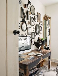 eclectic industrial rustic gallery wall