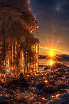 A frozen winters sunrise