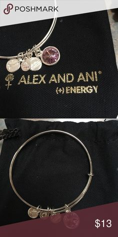 Alex and Ani June Bangle June Birth Month Charm Bangle With Swarovski® Crystal in Shiny Silver. Does not come in original packaging. Alex & Ani Jewelry Bracelets