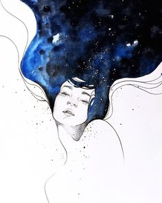 Ethereal Watercolor Paintings Beautifully Capture Our Interconnected World - Pwincess P. Watercolor Paintings Beautifully Capture Our Interconnected World - Pwincess P. Space Watercolor, Easy Watercolor, Watercolour Hair, Watercolor Artists, Watercolor Galaxy, Simple Watercolor Paintings, Watercolour Drawings, Galaxy Painting, Watercolor Portraits