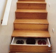 I wonder if we could do this into the stairs...split entry shoe storage solution
