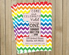Rainbow Chevron One Rainbow First Birthday Invitation, Custom Digital File. Pink Poppy Design, via Etsy.