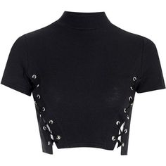 af272ddc Le Palais Vintage Crew Crop Top With Lace Up Sides in Black or White - One Size  Fits All