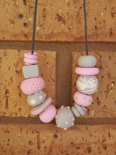 Polymer Clay Bead Necklace Pastel Statement by EmbellishHandmade