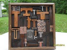 Antique Letterpress Type Graphic Design Letter T Wood Copper Metal Type 38 T 's #Letterpress