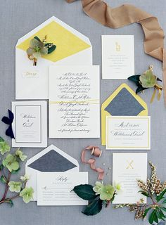 yellow, grey, modern, paper goods, invitation suite // Colorful and Modern Outdoor Wedding