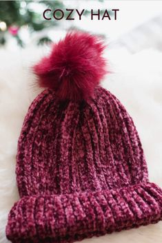 Stay cozy in this chunky knit chenille beanie. #beaniehat #hats #cozyhat #womenshat