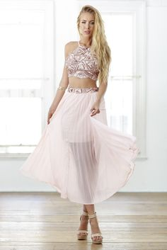Delicate Rose Gold Sequin Crop Top