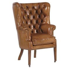 ACHICA | Italian Leather Armchair, Brown