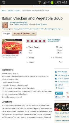 Italian Chicken and Vegetable Soup by Paula Deen