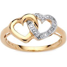 Palm Beach Jewelry PalmBeach Diamond Accent Interlocking Heart Promise... ($40) ❤ liked on Polyvore featuring jewelry, rings, yellow, 18k yellow gold ring, gold heart ring, heart ring, 18 karat gold ring and wide band rings