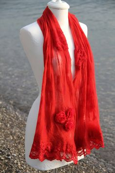 Red felt shawl with lace Red Felt, Shawl, Creations, Lace, Dresses, Fashion, Vestidos, Moda, Fashion Styles